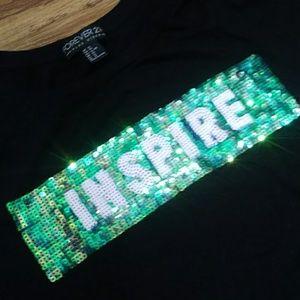 """Forever 21 """" Inspire"""" Black T shirt"""